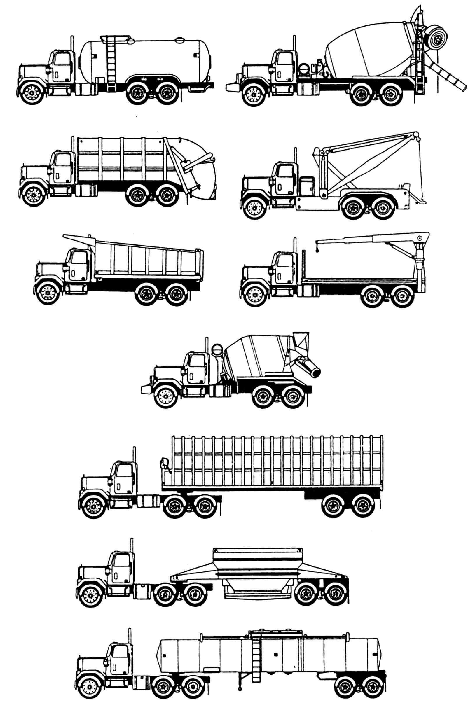 Возможные варианты компоновки автомобилей (оперение короткое).