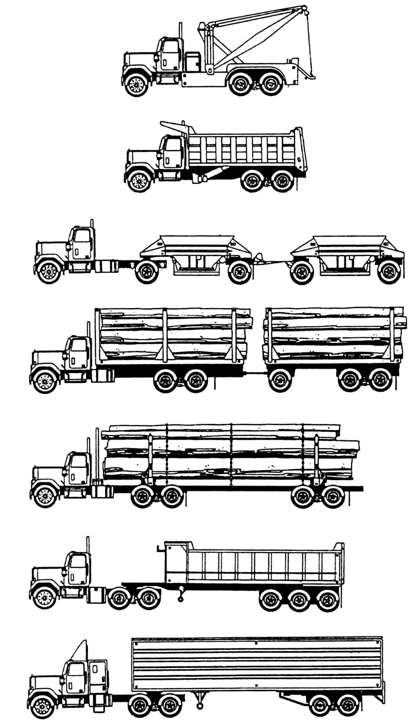 Возможные варианты компоновки автомобилей (оперение длинное).