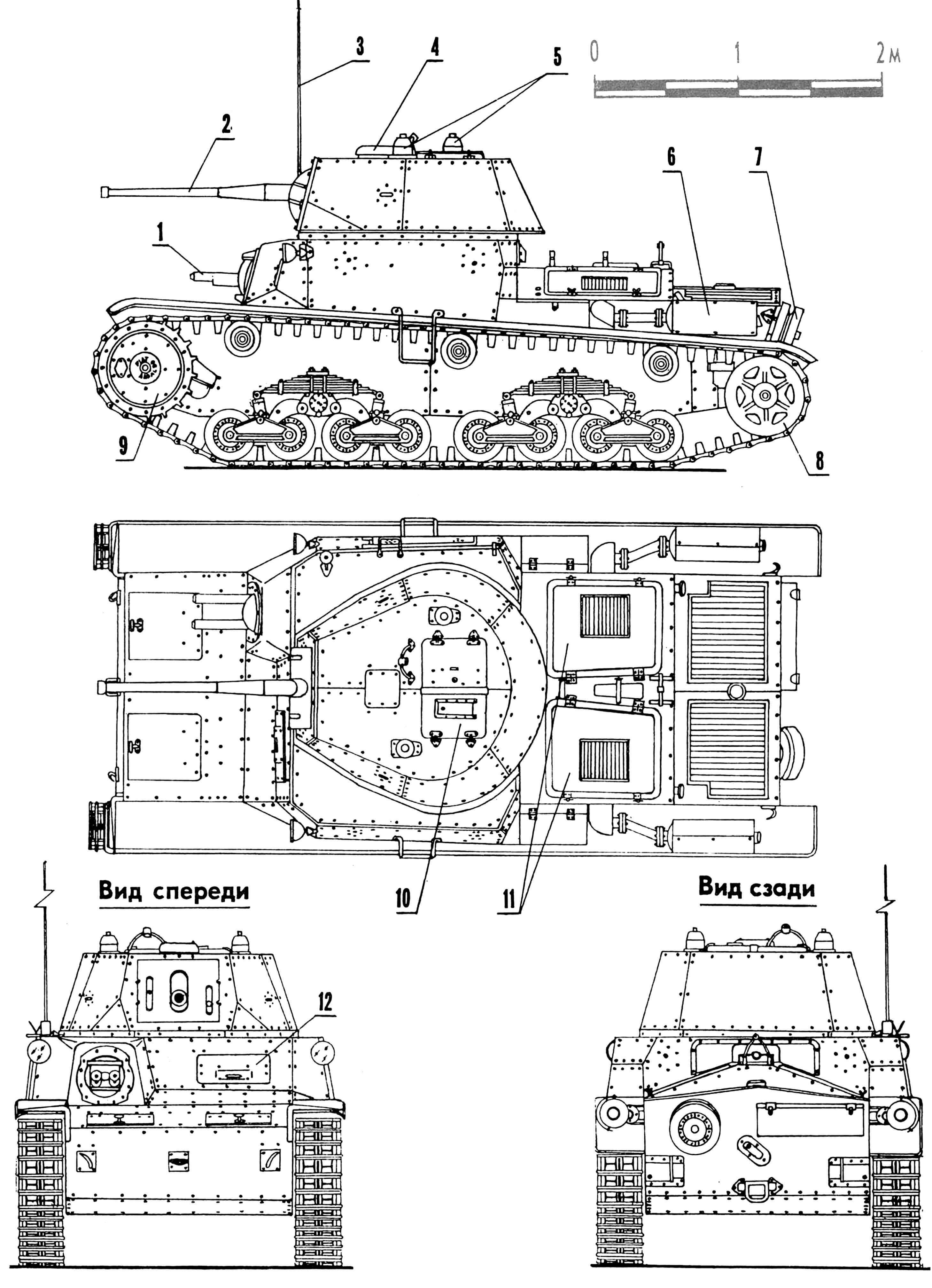 Средний танк Carro Armato Ml5/42: 1 — установка пулеметная спаренная, 2 — пушка 47-мм, 3 — антенна, 4 — колпак вентилятора, 5 — колпаки приборов наблюдения, 6 — глушитель, 7 — каток опорный запасной,8 — колесо направляющее, 9 — колесо ведущее, 10 — люк посадочный, 11 — крышки люков доступа к двигателю, 12 — лючок механика-водителя смотровой.