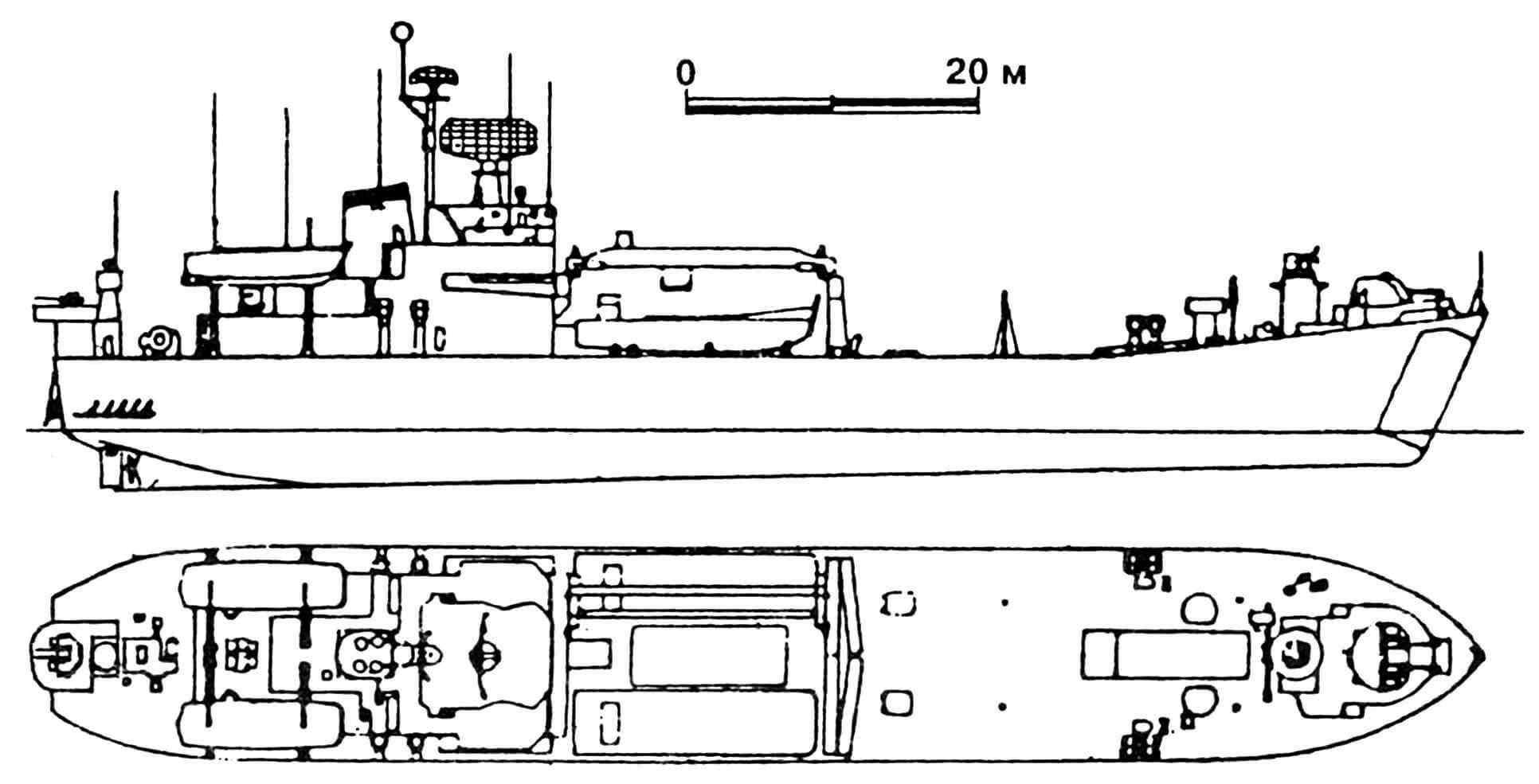 42. Танкодесантный корабль «Миура», Япония, 1974 г. Водоизмещение стандартное 2000 т, полное 3200 т. Длина максимальная 98,0 м, ширина 14,0 м, осадка 3,0 м. Дизели общей мощностью 4400 л.с., скорость 14 узлов. Вооружение: два 76-мм зенитных орудия, два 40-мм автомата. Вместимость: 180 десантников и 1800 т груза. Всего в 1974 — 1976 годах построено 3 единицы.