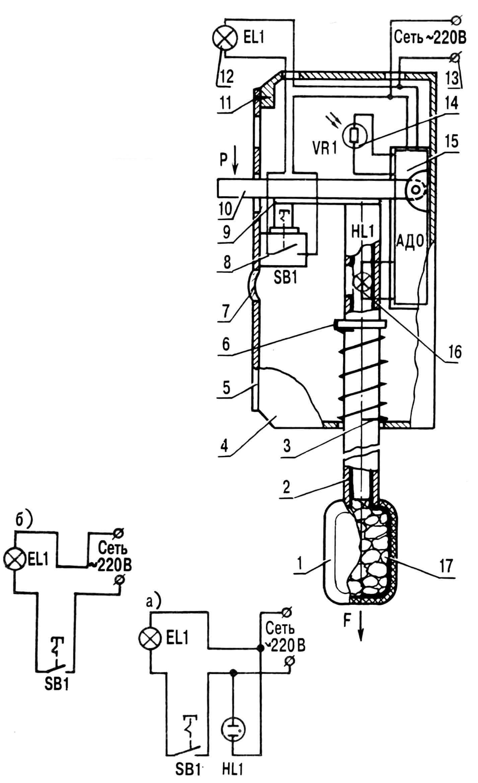 Рис. 1. Комбинированный электровыключатель: 1 — ручка, 2 — шток-световод, 3— пружина, 4 — корпус, 5 — крышка, 6 — диск упорный, 7 — светофильтр, 8 — выключатель с независимой фиксацией кнопки, 9 — планка нажимная, 10 — рычаг поворотный в сборе, 11 — винт (4 шт.), 12 — лампа осветительная, 13 — клемма (2 шт.), 14 — фоторезистор, 15 — блок автомата дневного отключения освещения, 16 — лампа индикаторная, 17 — светоиндикатор; упрощенные схемы с неоновой (а) и безламповой (б) индикацией.