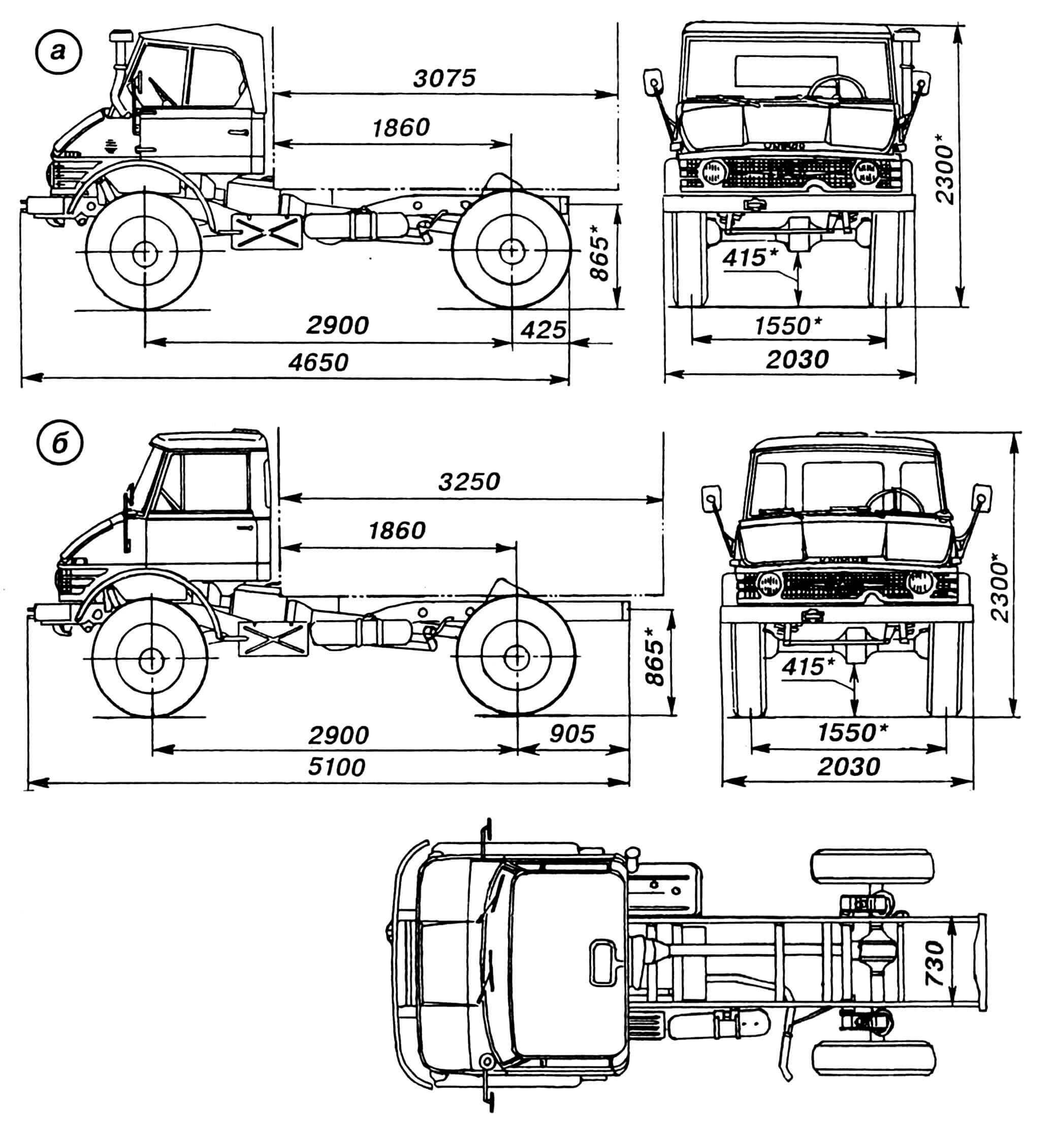 «Унимог» модели U80/413: а — с крышей-тентом, б — с цельнометаллической кабиной. * размеры даны для автомобиля с шинами в ненагруженном состоянии