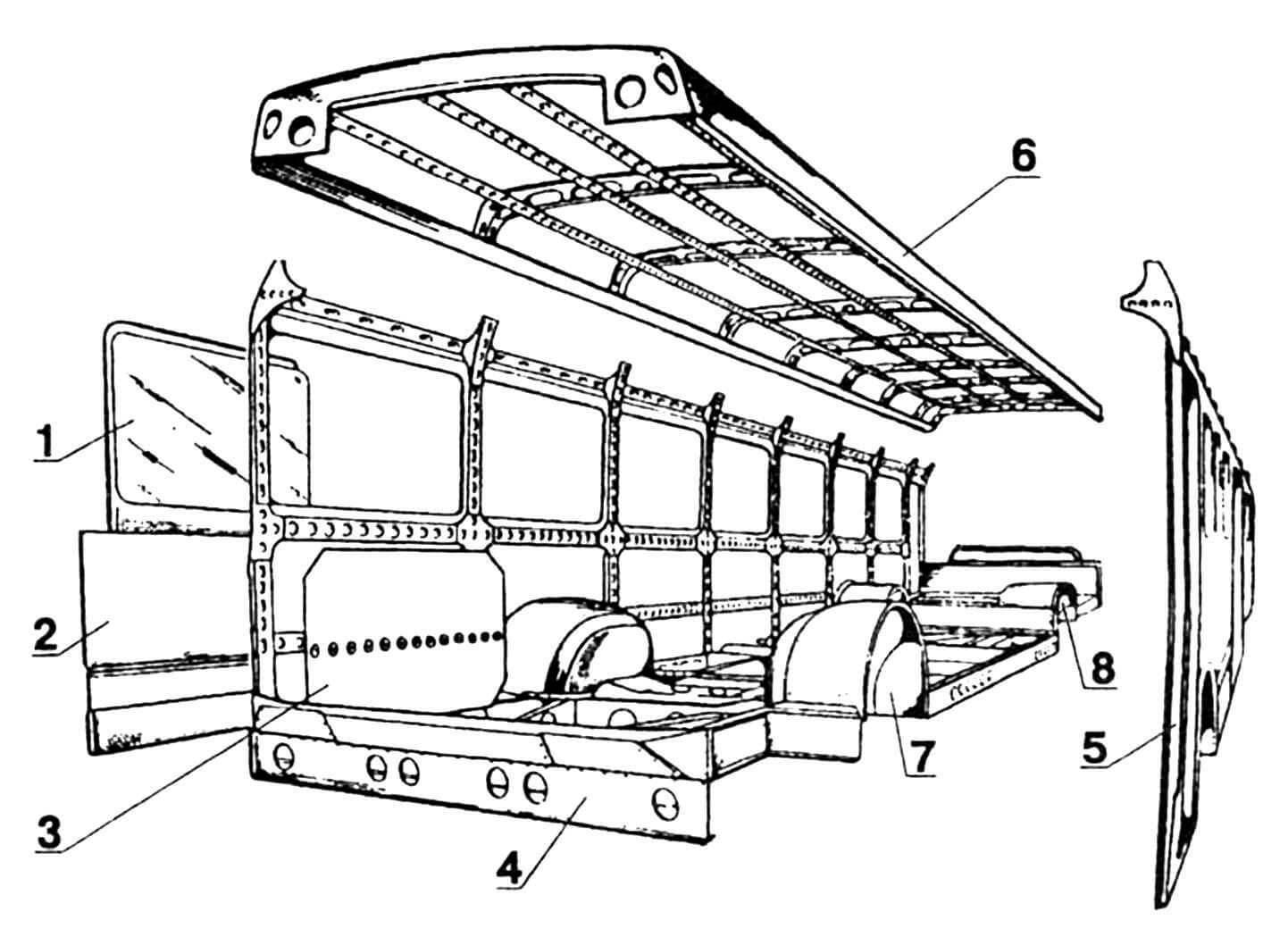 Основные части кузова: 1 — стекло боковое, 2 — панель наружная, 3 — панель внутренняя (обивка), 4 — рама, 5 — боковина в сборе, 6 — крыша в сборе, 7 — ниша переднего колеса, 8 — ниша заднего колеса.