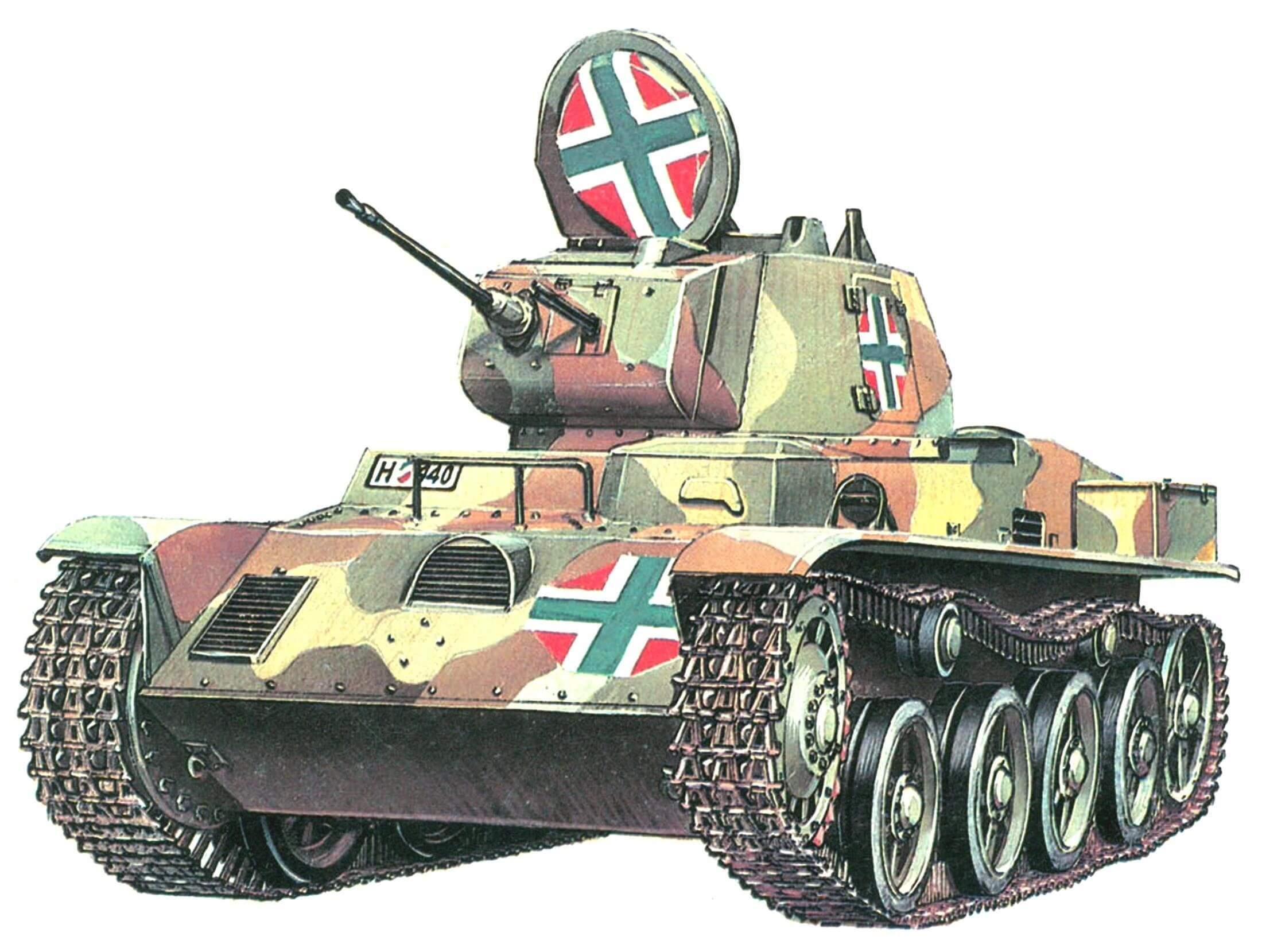 Toldi I в типовом трехцветном камуфляже венгерской армии. 1941 год