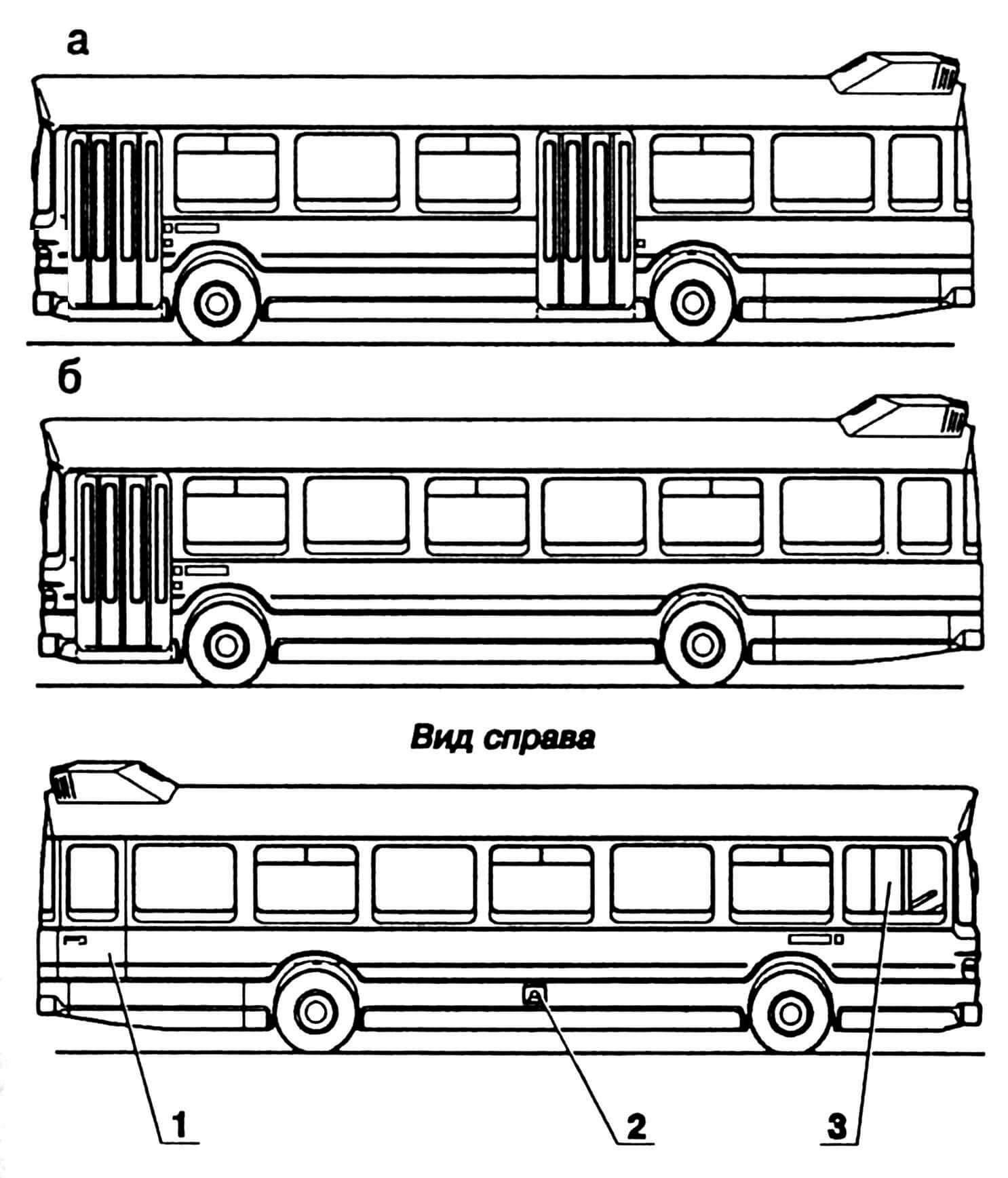 Варианты кузовов (а — двухдверный, б — однодверный): 1 — дверь аварийного выхода, 2 — горловина бензобака, 3 — окно водителя (с форточкой).