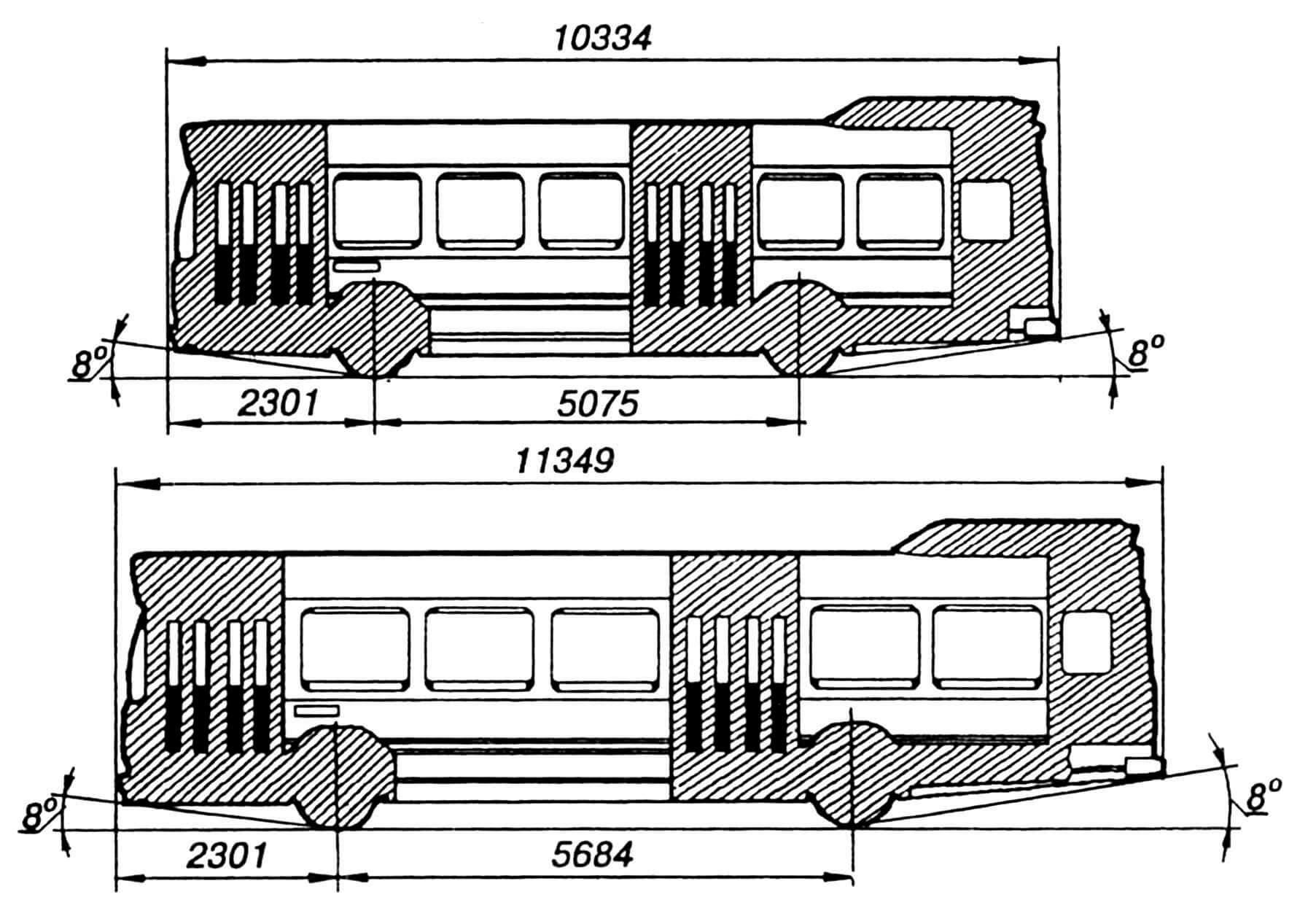 Схема унификации автобусов длиной 10,3 и 11,3 м.