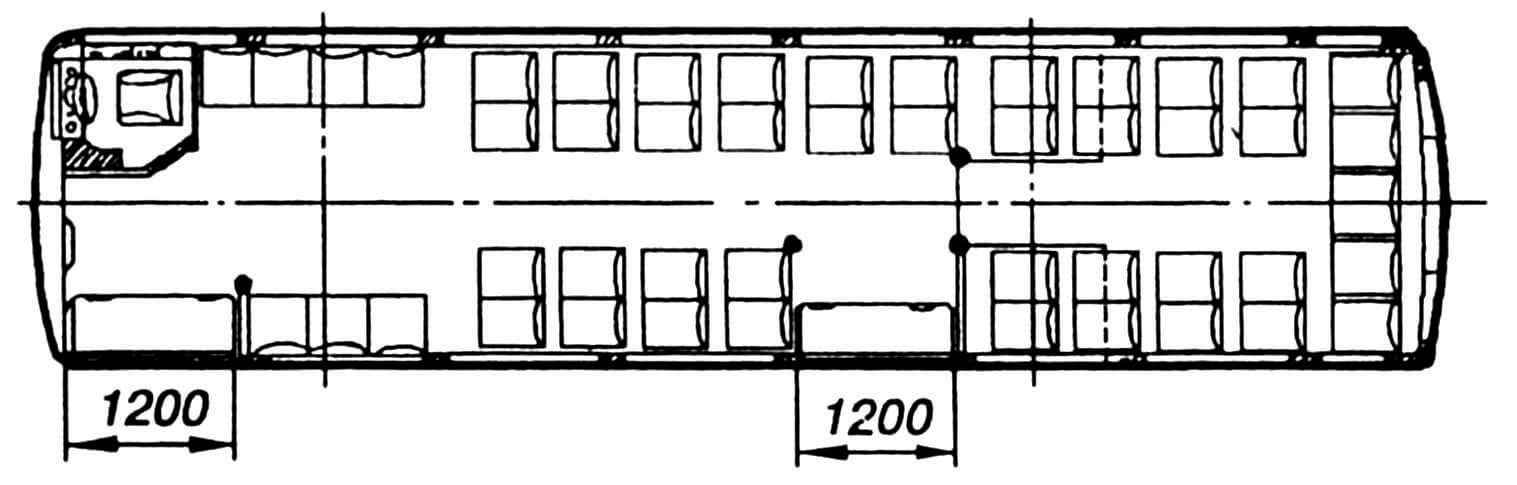 Компоновка салона на 48 посадочных мест.
