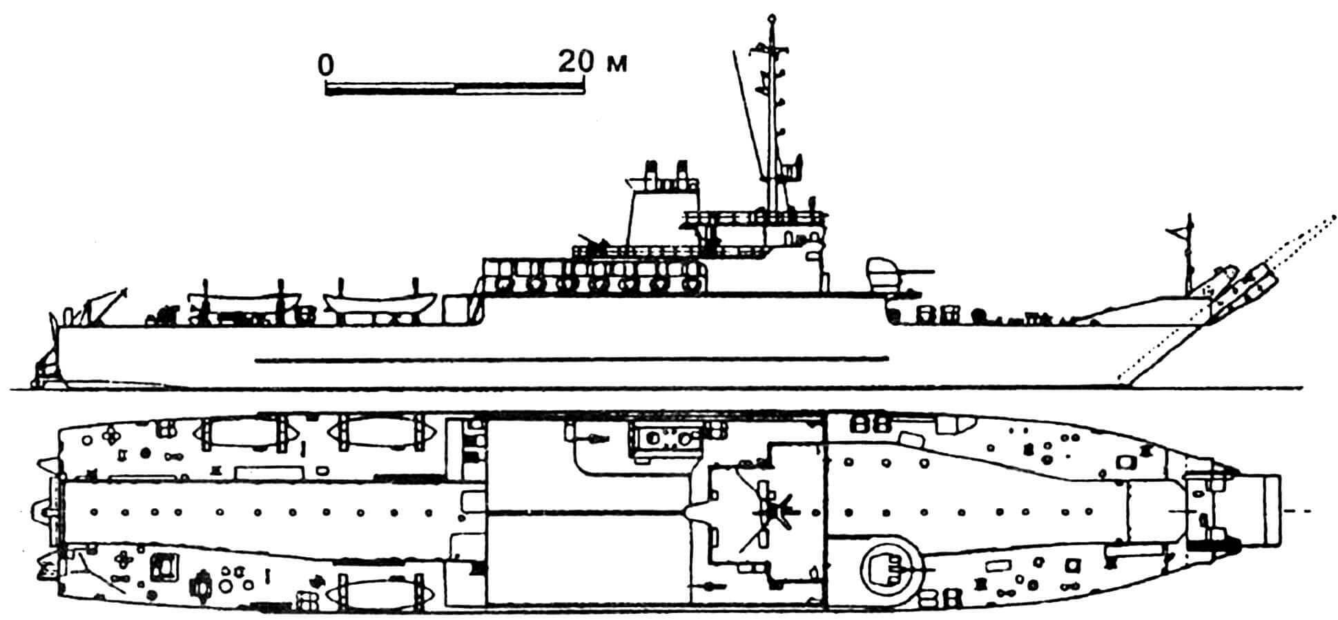 43. Средний десантный корабль «Амбе», Нигерия, 1979 г. Строился в ФРГ. Водоизмещение стандартное 1470 т, полное 1750 т. Длина максимальная 97,0 м, ширина 14,0 м, осадка 2,3 м. Два дизеля общей мощностью 6700 л.с., скорость 17 узлов. Вооружение: один 40-мм и два 20-мм зенитных автомата. Вместимость: 250 — 1000 десантников. Всего для Нигерии построено 2 единицы: «Амбе» и «Офиом».