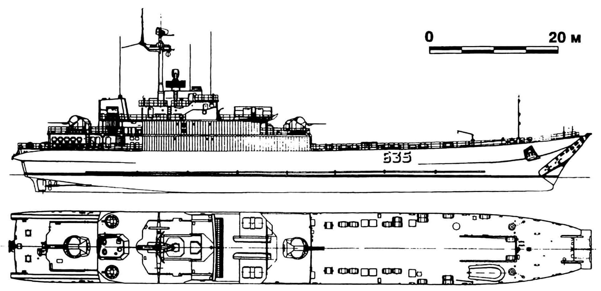 50. Средний десантный корабль «Коттбус» (тип «Фрош»), ГДР, 1975 г. Водоизмещение стандартное 1950 т, полное 4000 т. Длина 91,0 м, ширина 11,0 м, осадка 2,8 м. Два дизеля общей мощностью 9500 л.с., скорость 18 узлов. Вооружение: четыре 57-мм зенитных орудия и четыре 30-мм автомата, два РБУ. Вместимость: 12 — 14 танков или 650 т груза. Всего в 1975 — 1979 годах построено 10 единиц.