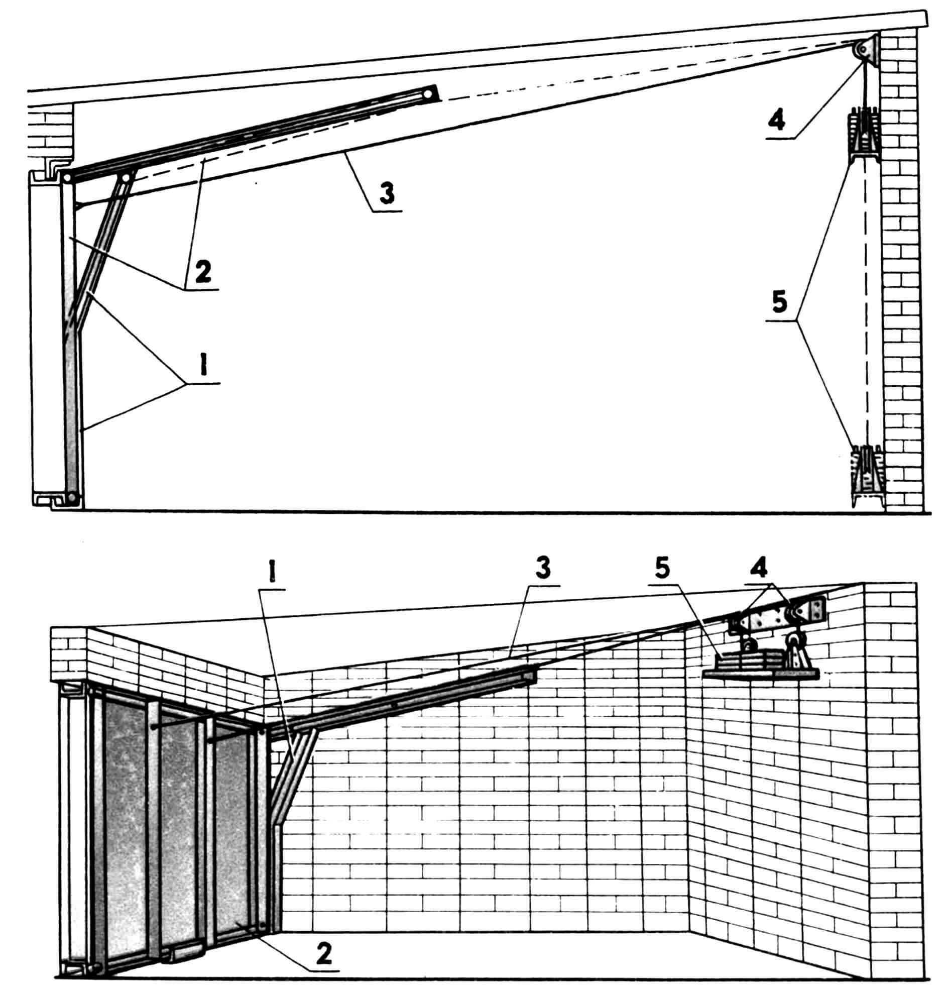 Одностворчатые гаражные ворота: 1 — направляющие, 2 — створка, 3 — трос, 4 — блок, 5 — противовес.