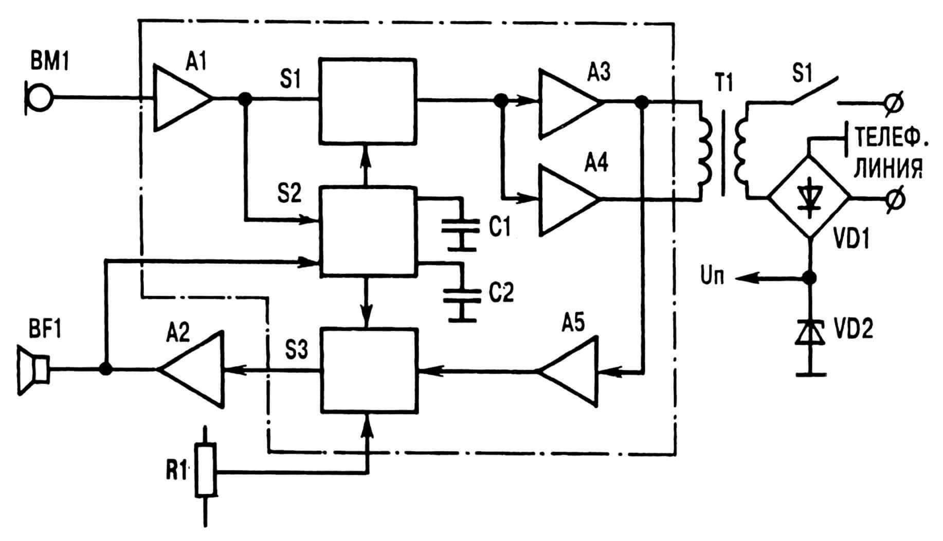 Упрощенная функциональная схема спикерфона.