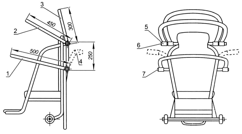 Сиденье с дугами накидки от дождя: 1 - дуга нижняя; 2 - дуга средняя; 3 - дуга верхняя; 4 - руль; 5 - втулка (6 шт.); 6 - перекладина верхняя; 7 - перекладина нижняя