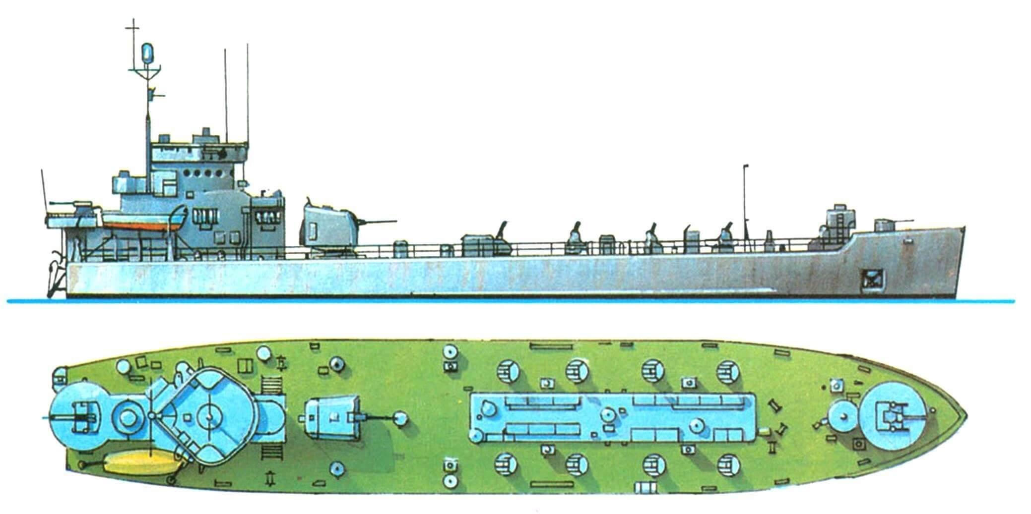 34. Корабль огневой поддержки десанта LSM(R)-501, США, 1944 г. Водоизмещение полное 990 т. Длина 62,0 м, ширина 10,5 м, осадка 1,7 м. Два дизельных двигателя общей мощностью 2800 л.с., скорость 13 узлов. Вооружение: одно 127-мм универсальное орудие, 105 направляющих для запуска 127-мм неуправляемых ракет, четыре 40-мм и восемь 20-мм зенитных автоматов. Всего в 1944 — 1945 годах построено 60 единиц, несколько отличавшихся составом вооружения.