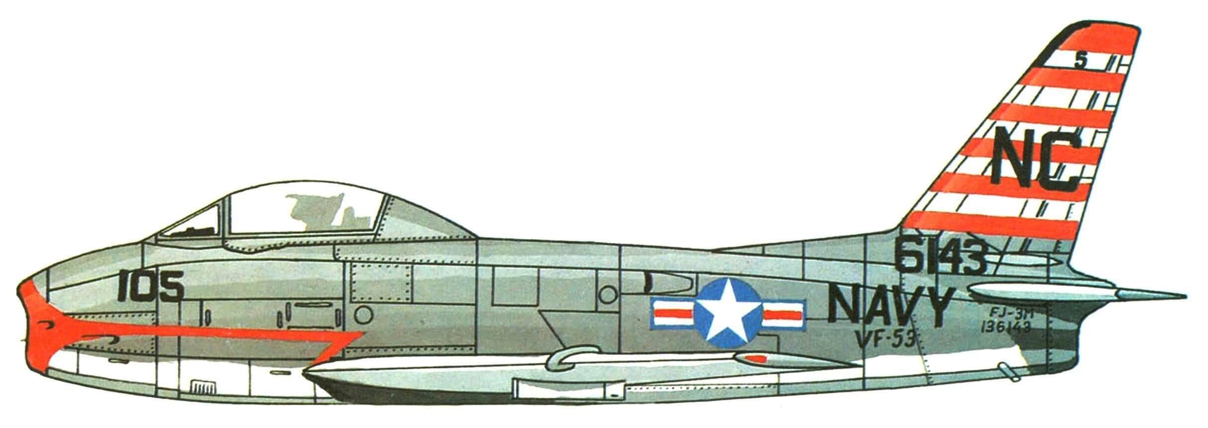 "FJ-3M эскадрильи VF-53, авианосец ""Kirsarge"", 1957r."