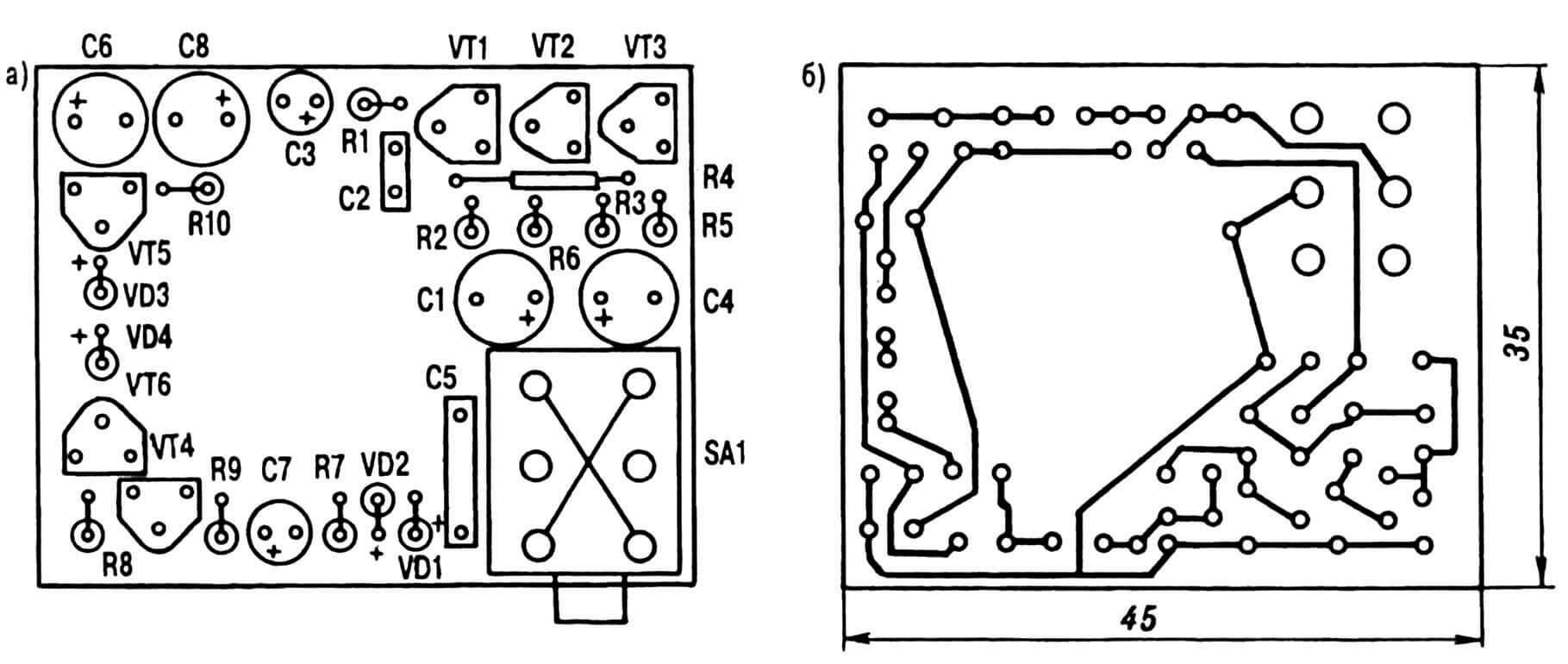 Рис. 3. Монтажная плата со стороны радиодеталей (а) и конфигурация печатных проводников на ее фольгированной поверхности (б).