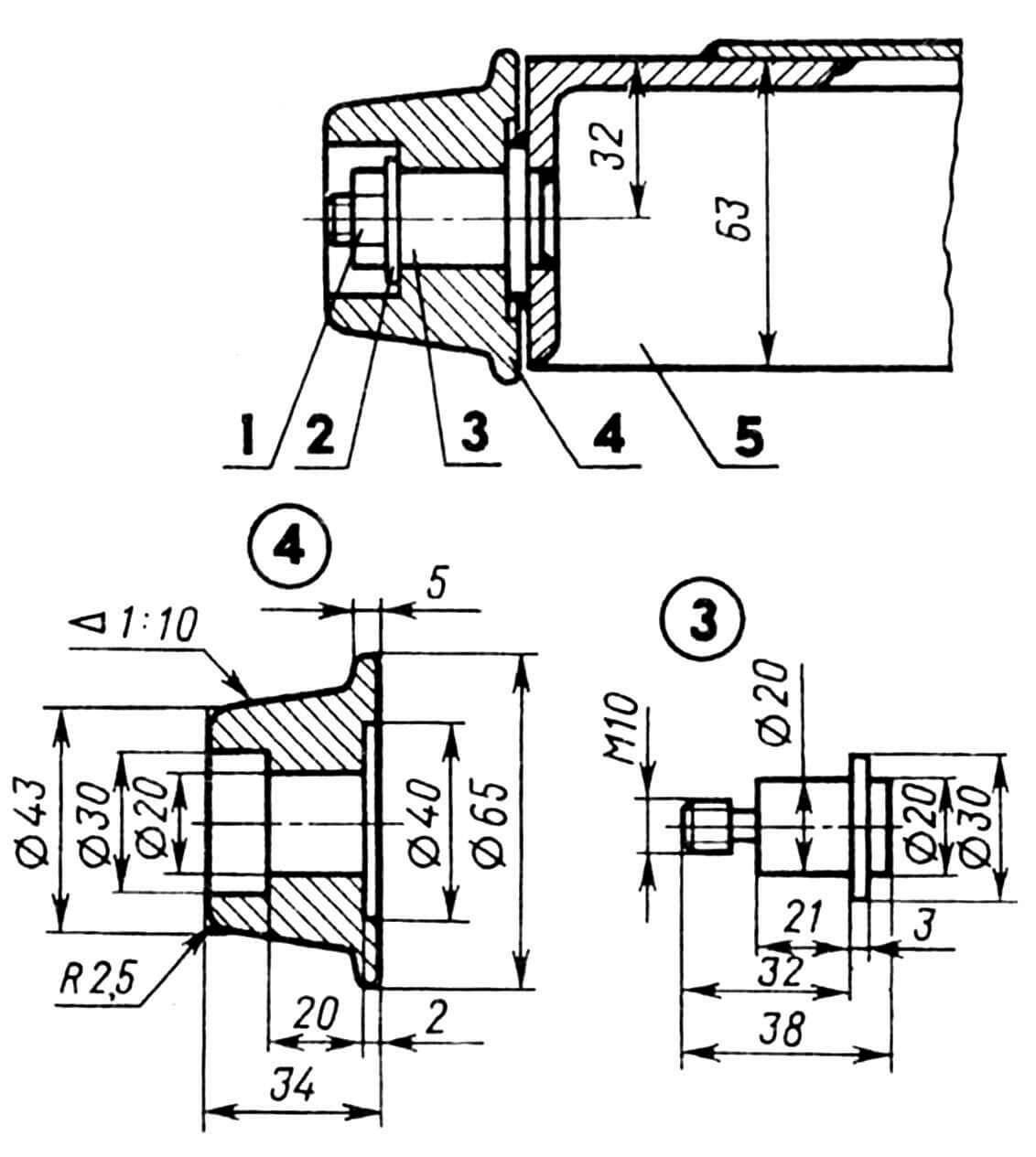 Установка ролика: 1— гайка M10, 2 — шаба, 3 — ось, 4 — ролик, 5 — створка.
