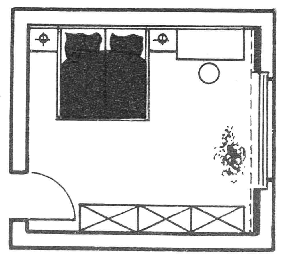 Рис. 1. План традиционной расстановки мебели.