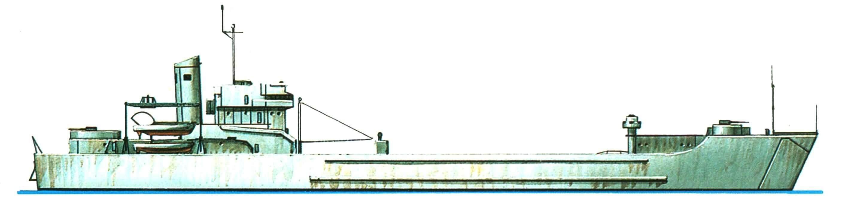 38.Танкодесантный корабль «Йорк Каунти», США, 1957 г. Водоизмещение стандартное 3860 т, полное 7850 т. Длина максимальная 134,8 м, ширина 18,9 м, осадка 4,1 м. Дизели общей мощностью 15 000 л.с., скорость 17 узлов. Вооружение: шесть 76-мм зенитных орудий. Вместимость: 635 десантников. Всего в 1953 — 1955 годах построено 7 единиц.