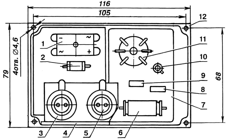 Рис. 3. Вариант компоновки блока электронного регулятора, смонтированного отдельно от сварочного трансформатора (наименование деталей приведено в соответствии с принципиальной электрической схемой): 1 — мост выпрямительный (сборка КЦ402), 2 — резистор R1 (МЛТ-2), 3 — тиристор VS3,4 — кронштейн, 5 — тиристор VS4, 6 — конденсатор С1 (МБМ), 7 — плата монтажная стеклотекстолитовая (2 шт.), 8 — резистор R3 (МЛТ-0,5), 9 — резистор R4 (МЛТ-0,5), 10 — транзистор VT1, 11 — трансформатор Т2 импульсный (МИТ1), 12 — корпус.