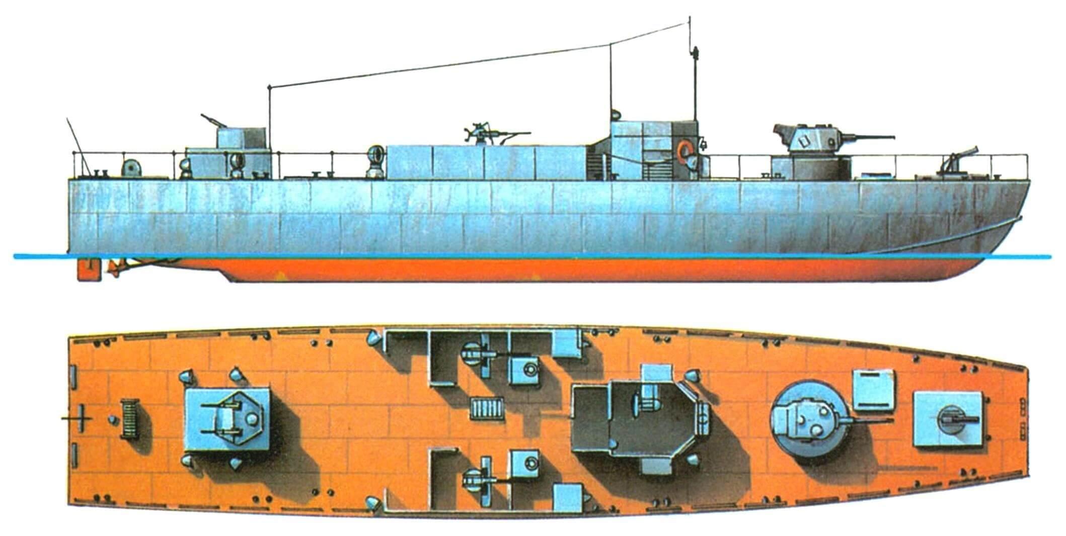 35. Катер ближней поддержки десанта LCS(L) Мк-2, Англия, 1942 г. Водоизмещение полное 116 т, длина 32 м, ширина 6,5 м, осадка 1,7 м. Два бензиновых двигателя общей мощностью 1140 л.с., скорость 14 узлов. Вооружение: одно 57-мм орудие в танковой башне, два 20-мм автомата, два 12,7-мм пулемета, один миномет.