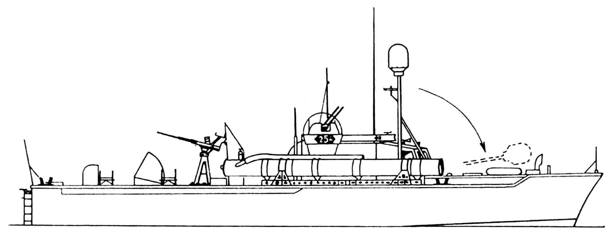 ТК-254, оборудованный складной мачтой с радаром типа SO-13.