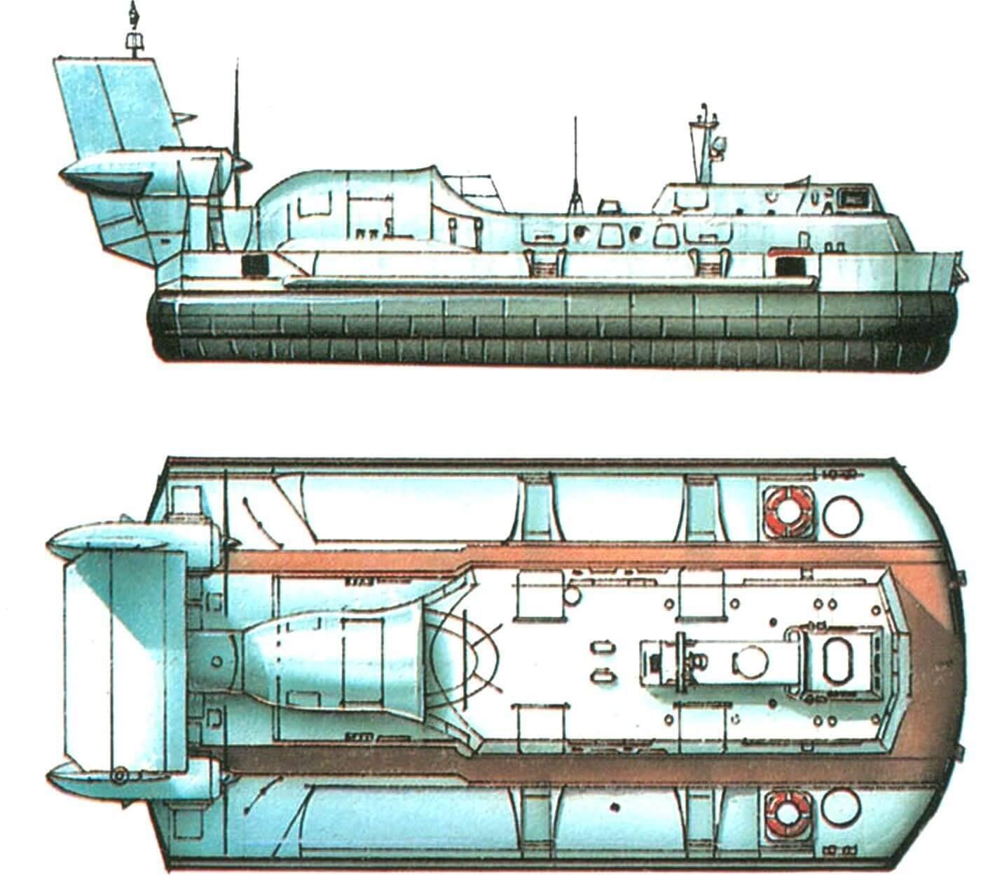 60. Десантный катер на воздушной подушке типа «Скат» (проект 1205), СССР, 1969 г. Водоизмещение 27 т. Длина 20,4 м, ширина 8,4 м, осадка на плаву 0,7 м. Две газовые турбины для движения общей мощностью 2340 л.с., одна газовая турбина для подъема мощностью 780 л.с., скорость 49 узлов. Вместимость: 40 человек. В 1969 — 1974 годах построено 29 единиц.