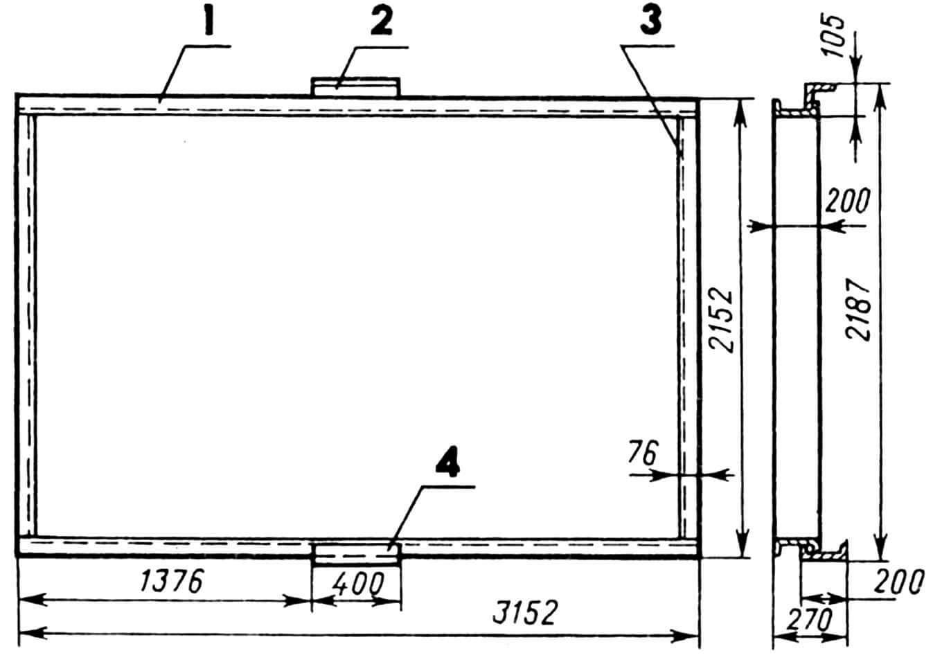 Рама дверного проема: 1 — поперечина (швеллер 200x76x5,2, 2 шт.), 2 — держатель верхний (уголок 100x100x5), 3 — стойка (швеллер 200x76x5,2, 2 шт.), 4 — держатель нижний.
