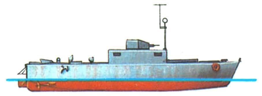 36.Катер ближней поддержки десанта LCS(M) Мк-3, Англия, 1941 г. Водоизмещение нормальное 13,5 т. Два бензиновых двигателя общей мощностью 130 л.с., скорость 10 узлов. Вооружение: два 12,7-мм пулемета, один миномет.