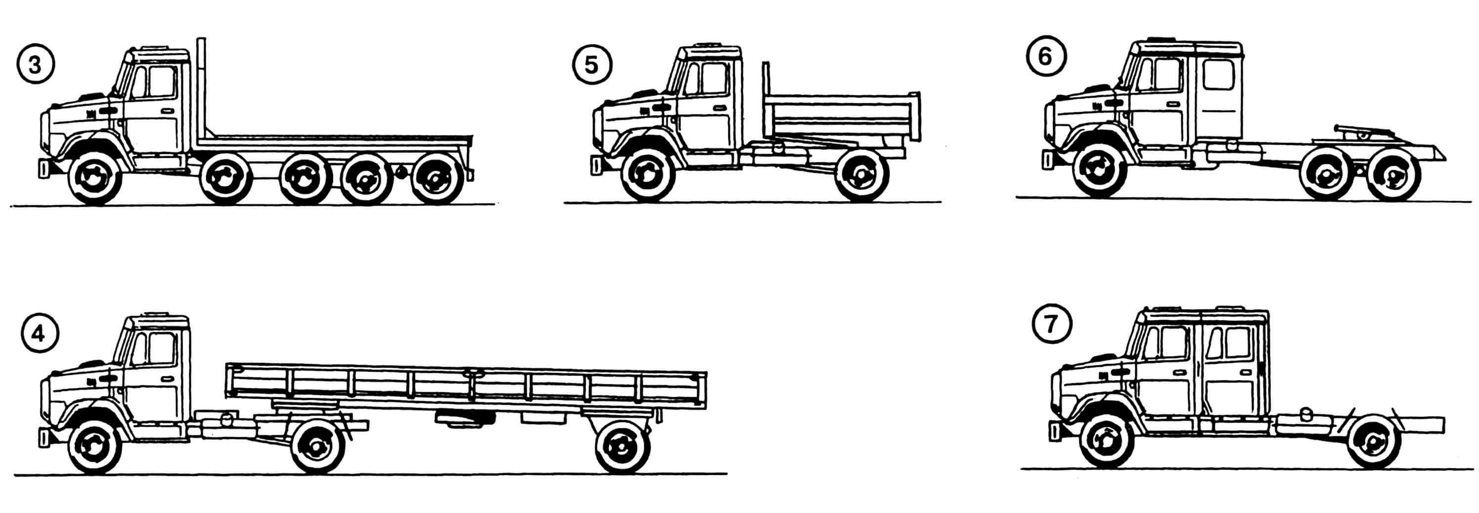 Модификации автомобиля ЗИЛ-4331: 1 — самосвал сельскохозяйственного назначения, 2 — самосвал трехосный, 3 — грузовик специального назначения пятиосный, 4 — тягач с полуприцепом седельный, 5 — самосвал с короткой рамой, 6 — тягач со спальным модулем седельный, 7 — грузовик со сдвоенной кабиной.