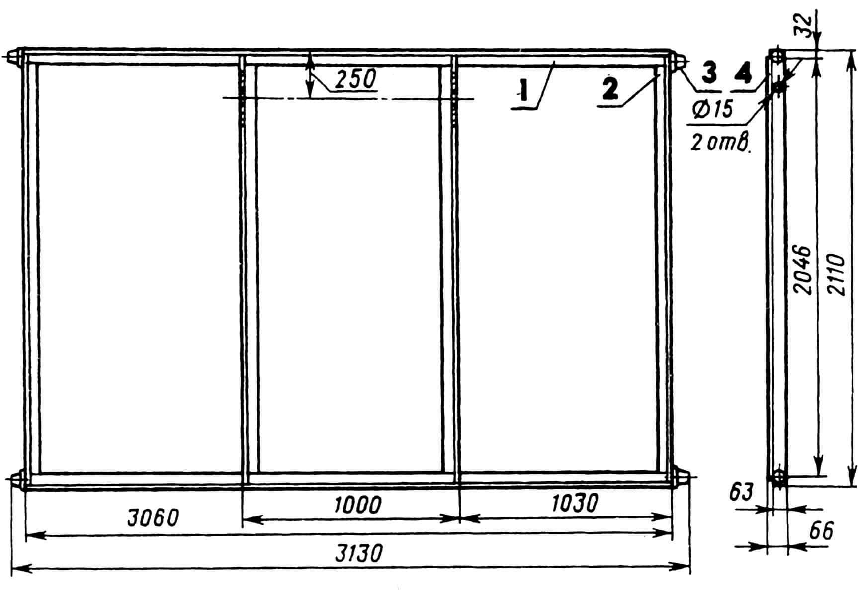 Створка ворот: 1 — поперечник (уголок 63x63x6, 2 шт.), 2 — стойка (уголок 63x63x6, 4 шт.), 3 — ролик (4 шт.), 4 — обшивка (лист s3).