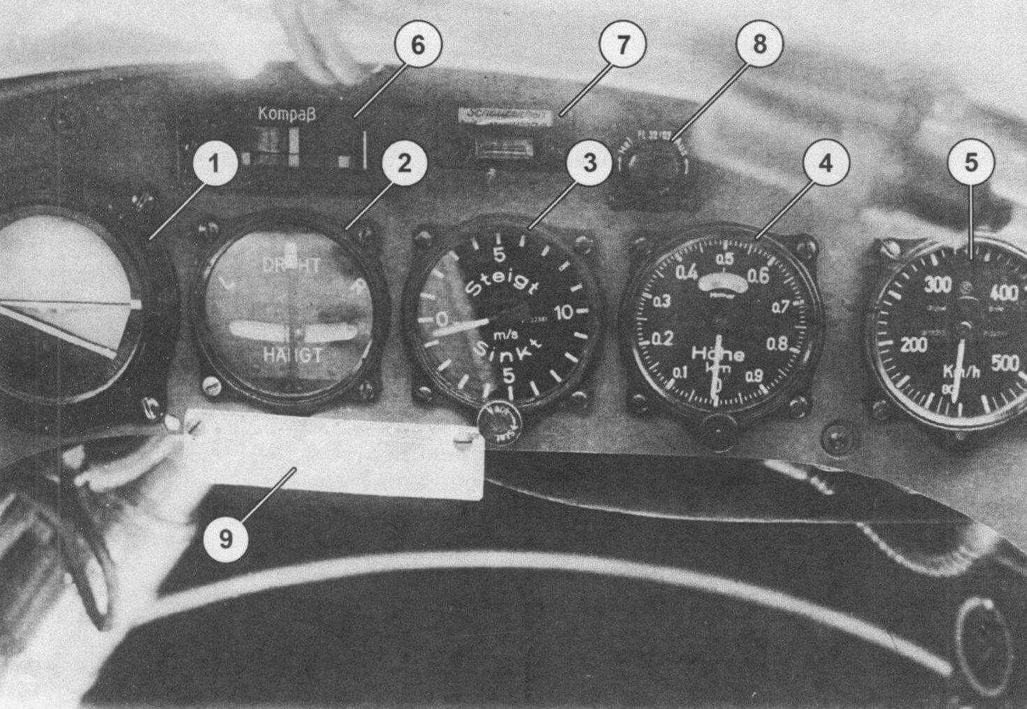 Фрагмент приборной доски летчика: 1 - авиагоризонт; 2 - указатель поворота; 3 - вариометр; 4 - высотомер; 5 - указатель скорости; 6 - указатель компаса; 7 - сигнализатор электрообогрева ПВД; 8 - реостат накала ламп; 9 - таблица режимов работы моторов