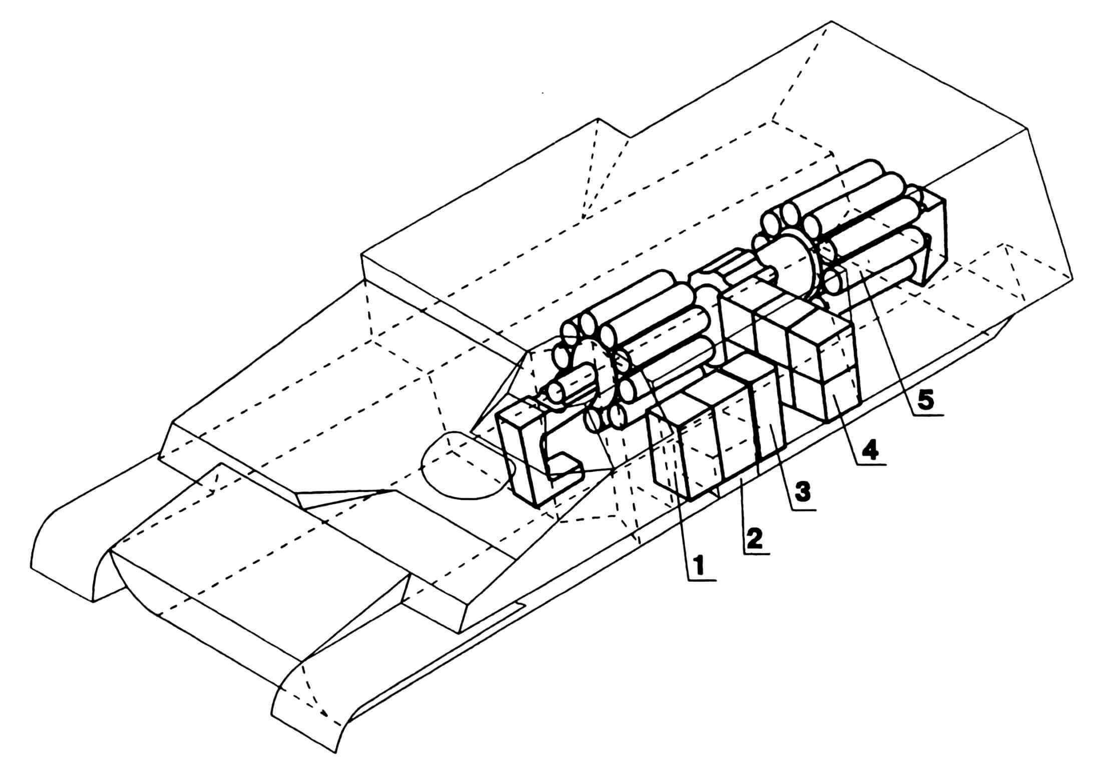 Схема размещения боевого комплекта в машине: 1 — укладка малая, 2 — ящик, 3 — стеллаж, 4 — укладка большая, 5 — укладка механизированная.