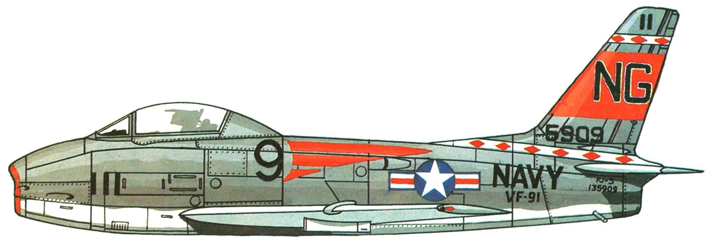 "FJ-3 эскадрильи VF-91, авианосец ""Ticonderoga"", 1958г."