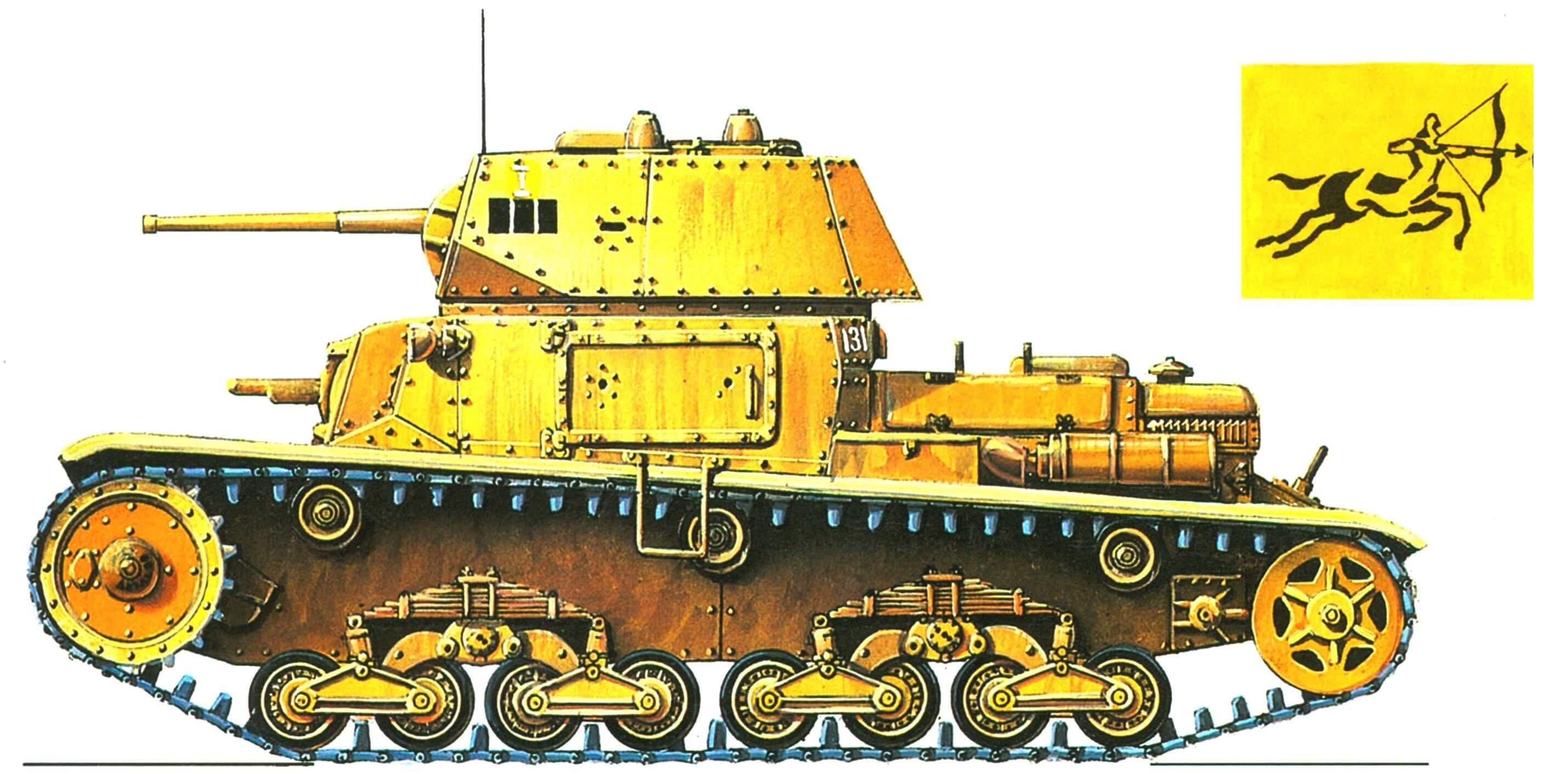 Carro Armato М13/40. 2-й взвод 1-го батальона 131-го полка танковой дивизии «Чентауро» (Centauro), 1942 год,