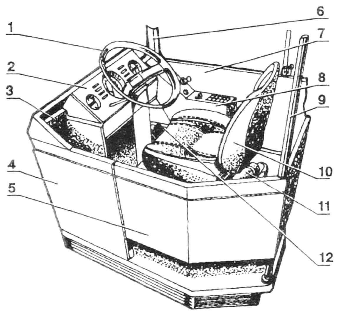 Рабочее место водителя: 1 — колесо рулевое, 2 — панель приборов основная, 3 — место кассового аппарата, 4 — стенка кабинки, 5 — дверца кабинки, 6 — стойка лобового стекла, 7 — стенка боковины, 8 — панель приборов дополнительная, 9 — стойка-поручень, 10 — сиденье водителя, 11 — огнетушитель, 12 — педали.