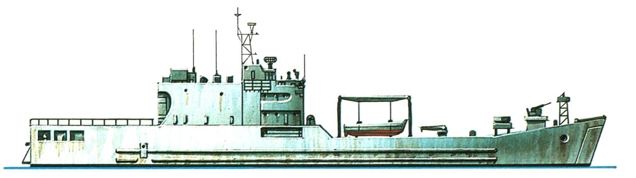 41.Танкодесантный корабль «Телук Бантен», Индонезия, 1982 г. Строился в Южной Корее. Водоизмещение стандартное 1800 т, полное 3780 т. Длина максимальная 100,0 м, ширина 15,4 м, осадка 3,0 м. Дизели общей мощностью 6850 л.с., скорость 15 узлов. Вооружение: два 40-мм и два 20-мм автомата. Вместимость: 200 десантников и 700 т груза. Всего в 1981 — 1982 годах построено для Индонезии 6 единиц.