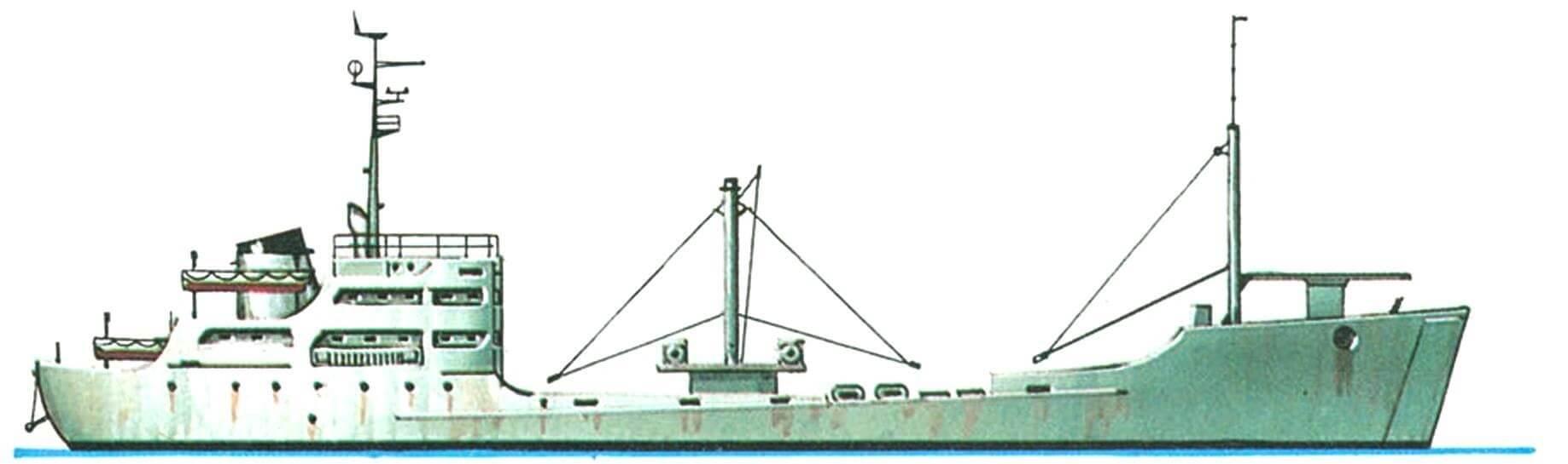 48.Средний десантный корабль «Бурея» (проект 572), СССР, 1956 г. Водоизмещение стандартное 1400 т, полное 2030 т. Длина 70,9 м, ширина 12,3 м, осадка 3,8 м. 2 дизеля общей мощностью 1600 л.с., скорость 10 узлов. Вооружение: два 57-мм зенитных орудия и четыре 25-мм автомата. Вместимость: 4 тяжелых или 5 средних танков или 225 десантников. Всего в 1956 — 1959 годах построено 8 единиц.