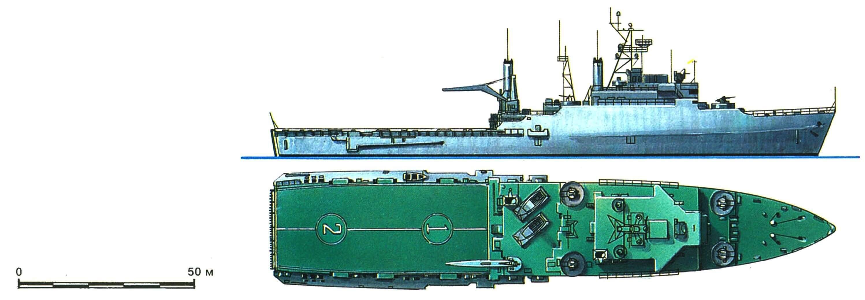 29. Десантный транспорт-док «Рэлей», США, 1962 г. Водоизмещение стандартное 8050 т, полное 13 900 т. Длина 159,1 м, ширина 25,6 м, осадка 7 м. Турбины общей мощностью 24 000 л.с., скорость 21 узел. Вооружение: восемь 76-мм универсальных орудий. Вместимость: до 840 десантников или 3900 т груза. В 1962 — 1965 годах построено три корабля этого типа, а в 1965 — 1970 годах — 12 единиц близкого типа «Остин» (водоизмещение стандартное 11 050 т, полное 16 900 т, длина 171 м, ширина 25,8 м, осадка 6,7 м, скорость 20 узлов, остальные данные те же).