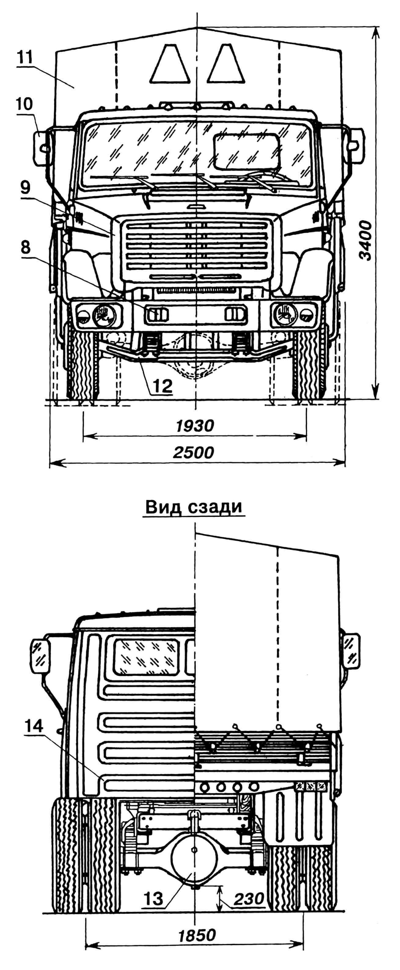 Грузовой автомобиль ЗИЛ-4331 (на видах сбоку и сверху зеркала условно не показаны): 1 — подножка, 2 — глушитель, 3 — бензобак, 4 — ящик инструментальный, 5 — вал карданный, 6 — брызговик, 7 — устройство буксирное, 8 — проушина буксирная (2 шт.), 9 — решетка радиатора облицовочная, 10 — зеркало заднего вида, 11 — тент, 12 — балка переднего моста, 13 — редуктор заднего моста, 14 — стенка кабины задняя, 15 — повторитель боковой, 16 — замок крепления оперения, 17 — ящик аккумуляторный, 18 — колесо запасное, 19 — люк вентиляционный, 20 — огонь габаритный, 21 — воздухозаборник вентиляции и отопления кабины, 22 — воздухозаборник воздушного фильтра, 23 — капот, 24 — крыло.