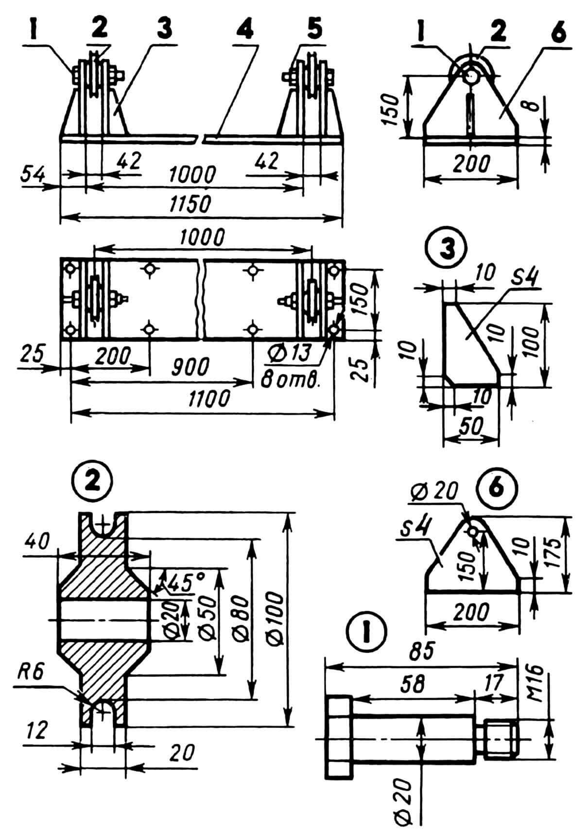 Установка блоков: 1 — ось блока, 2 — блок, 3 — косынка, 4 — плита, 5 — гайка М16 с шайбой, 6 — стойка.