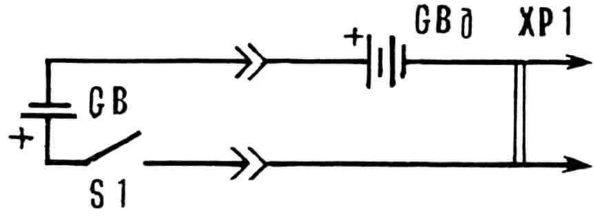 Рис. 1. Схема подключения дополнительной батареи (через разъем) к сигнальному устройству электромеханических часов.