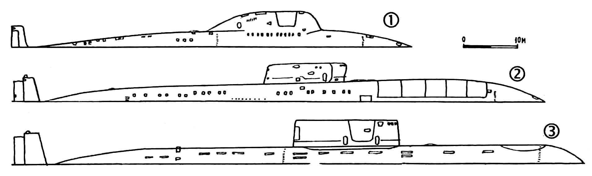 1) Подводная лодка проекта «705». Водоизмещение: 2900/3800 т. Размеры: 80 х 9,2 х 7,6 м. 6 торпедных аппаратов. Один реактор, один винт, 40 000 л.с., 42 уз., 31 чел. экипажа. Всего в течение 1979 — 1983 гг. построено 6 единиц. 2) Подводная лодка проекта «661». Водоизмещение: 5197/7000 т. Размеры: 106,9 х 11,5 х х 8 м. 10 ракет «Аметист», 6 торпедных аппаратов, 2 реактора, 2 винта, 88 000 л.с., 45 уз., 80 чел. экипажа. Вступила в строй в 1971 году. 3) Подводная лодка проекта «685». Водоизмещение: 5680/8000 т. Размеры: 117x11x8м. 6 торпедных аппаратов. Один реактор, один винт, 43 000 л.с., 30 уз., 64 чел. экипажа. Вступила в строй в 1984 году. Погибла в 1989 году.