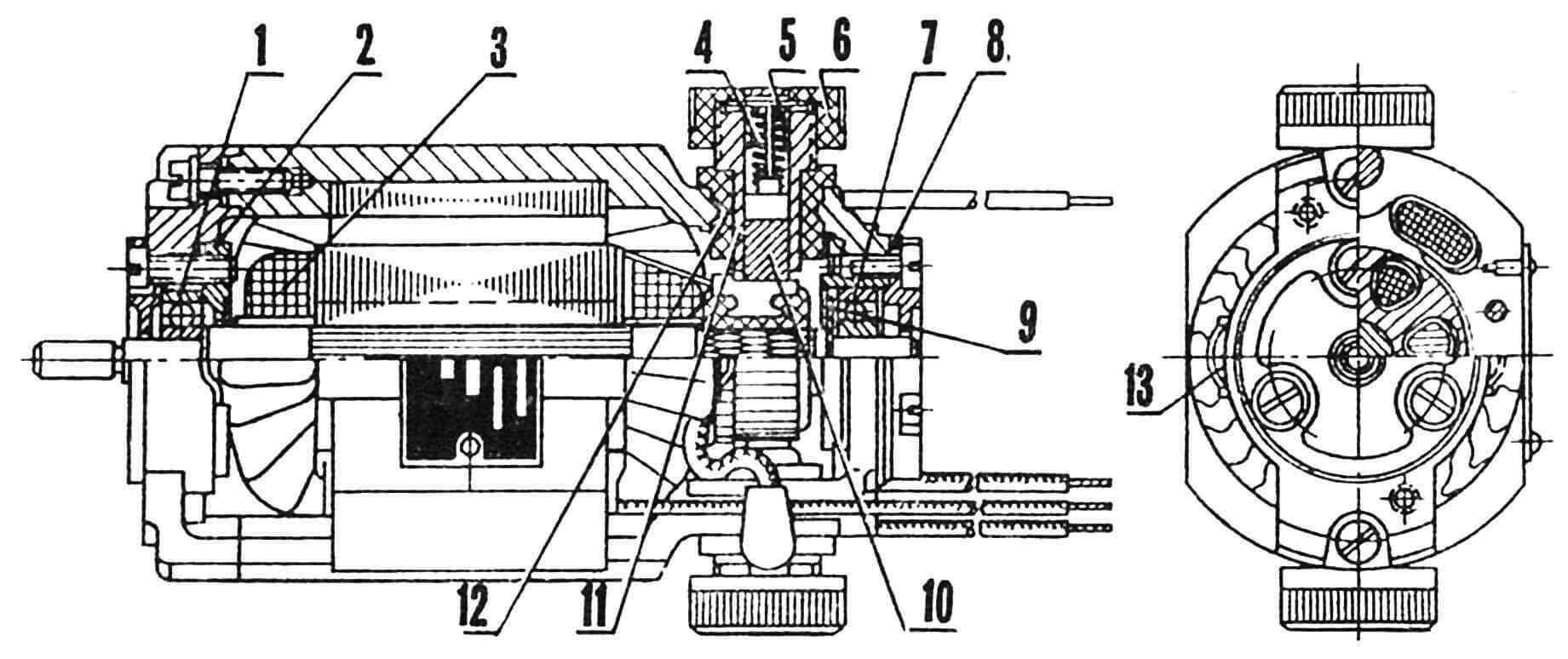 Электродвигатель серии УВ, используемый во многих конструкциях бытовых пылесосов: 1— подшипник со стороны свободного конца вала; 2 — фланец; 3 — обмотка возбуждения; 4 — пружина; 5 — пластина контактная, 6 — колпачок пластмассовый; 7 — подшипник со стороны коллектора; 8 — фланец; 9 — шайба; 10 — щетка; 11 — обойма; 12 — втулка пластмассовая; 13 — скоба.