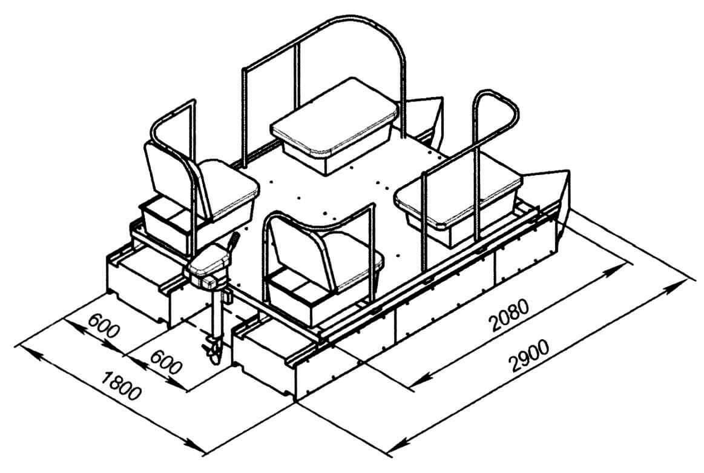 Проект разборного палубного катера-катамарана конструкции Г. Дьяконова на модулях плавучести типа ПК-120