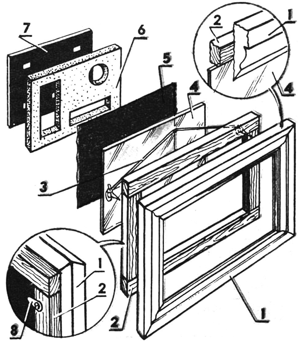 Настенная витрина для домашней коллекции: 1 — багет,. 2 — рамка-держатель стекла, 3 — подвесная петля, 4 — стекло, 5 — фоновая прокладка, 6 — пенопластовая кассета, 7 — задняя стенка, 8 — поворотный фиксатор.
