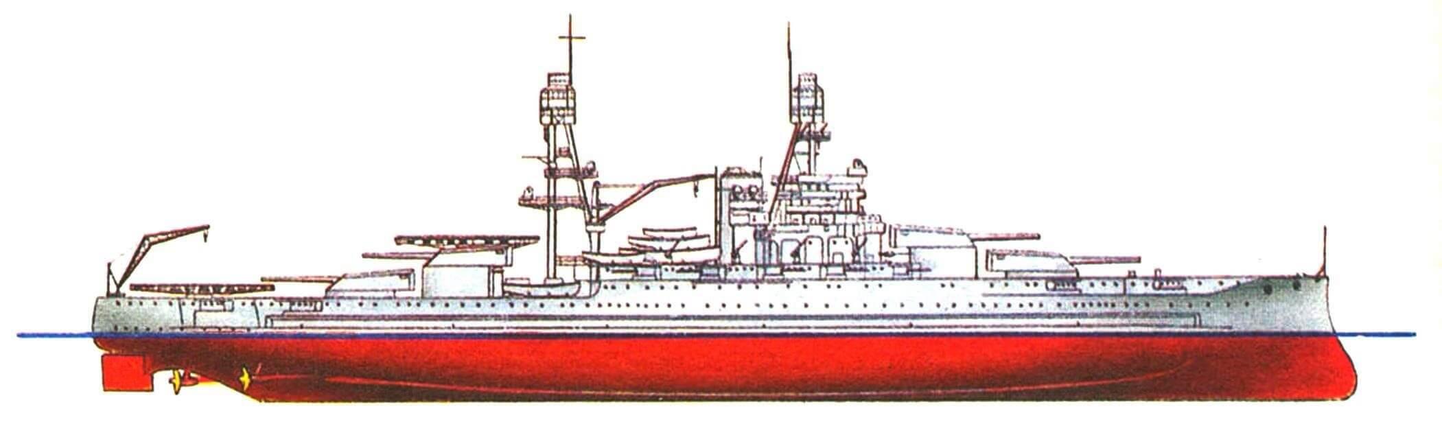 210. Линейный корабль «АРИЗОНА», США, 1916/1936 г. Водоизмещение стандартное 33125 т, полное 39300 т, длина максимальная 182,9 м, ширина с булями 32,4 м, осадка 10,1 м. Мощность четырехвальной турбинной установки 33400 л.с., скорость 21 уз. Броня: пояс до 343 мм, башни до 457 мм, палубы до 127 мм, рубка 406 мм. Вооружение: по двенадцать 356-мм и 127-мм орудий, по восемь 127-мм и 28-мм зенитных пушек. Внешний вид корабля показан по состоянию на 1936 г. Аналогичным образом модернизированы «Оклахома», «Невада» и «Пенсильвания».