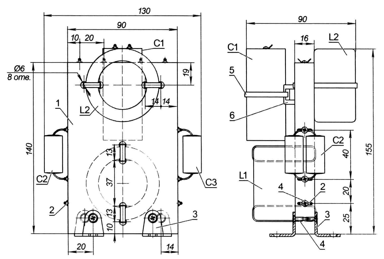 Кроссовер (блок частотных фильтров): 1 - основание (фанера или ДСП); 2 - монтажный лепесток (10 шт.); 3 - стяжка ФС-16 (оцинк.); 4 - саморез 3x14 (10 шт.); 5 - хомут-стяжка (пластик); 6 - площадка под винт для крепления стяжек