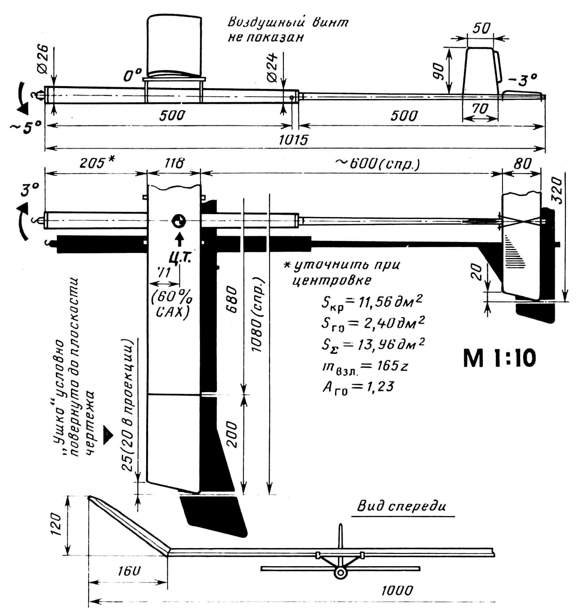 Рис. 1. Геометрические параметры резиномоторной модели.