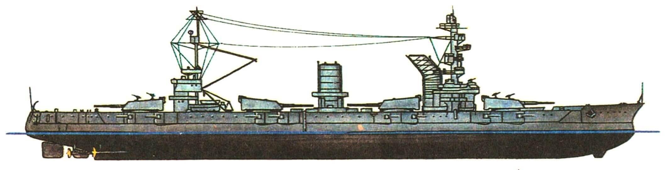 218.Линейный корабль «МАРАТ», СССР, 1914/1939 г. Водоизмещение полное 26 170 т, длина наибольшая 184 м, ширина 26,89 м, осадка 9,3 м. Мощность четырехвальной паротурбинной установки 61 000 л.с., скорость 23 уз. Броня: пояс 225 — 125 мм, продольная переборка 51 мм, казематы 127 мм, палубы 38+25 мм, рубка до 250 мм. Вооружение: двенадцать 305-мм и шестнадцать 120-мм орудий, шесть 76-мм пушек Лендера, 6 счетверенных и 2 одиночные установки пулеметов «максим». Внешний вид корабля и его ТТХ приведены по состоянию на 1939 г.
