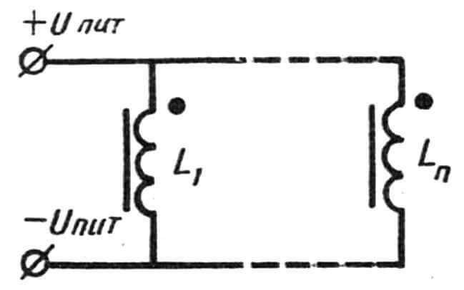 Рис. 2. Электрическая схема соединения катушек (обмоток) в клеммной колодке.